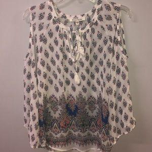 Tops - Patterned open shoulder blouse